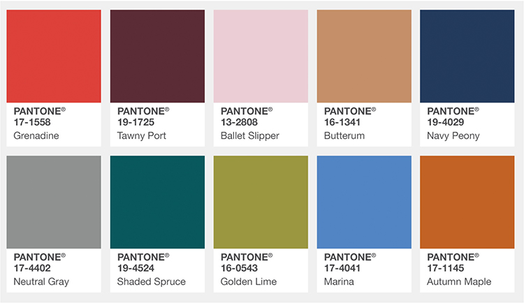 La palette Pantone ou les tendances couleurs du moment