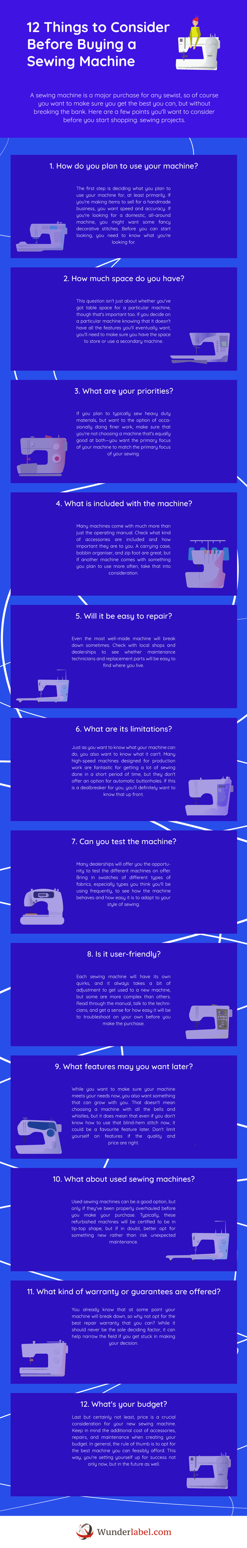 12 Things to Consider Before Buying a Sewing Machine [Infographic]