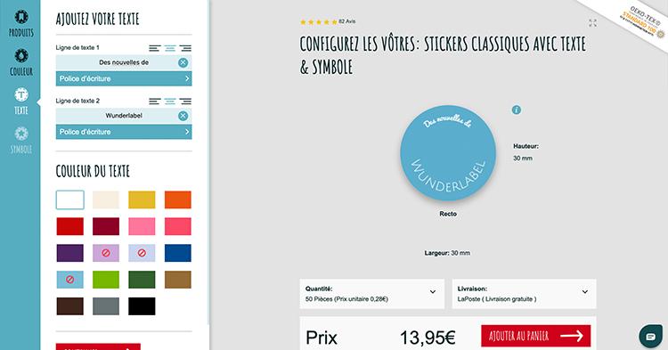 Créez vos propres stickers avec le configurateur en ligne Wunderlabel